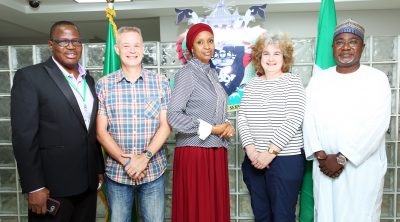 The Managing Director, Nigerian Ports Authority (NPA), Hadiza Bala Usman (Middle), the United Kingdom Hydrographer, Cathy Tunks (2nd from right), Chris Booth of the UK Hydrographic Office, (2nd from left), the General Manager, Engineering, NPA, Engr. Rufai Mohammed (right) and the Principal Manager, Hydro & Dredging, NPA, Amos Ishaya Talum
